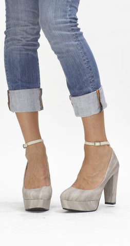 Precious Ankle Strap Pump - Gray