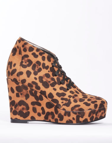 Ramona Wedge Lace-up Bootie - Cheetah