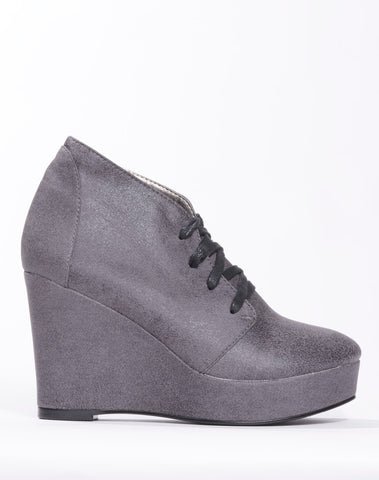Ramona Wedge Lace-up Bootie - Ash