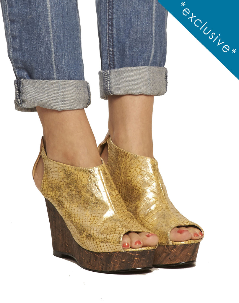 Roux Cutout Wedge - Gold - was $160