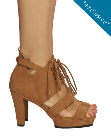 Sammy Strappy Laceup Platform Sandal - Brown - was $165