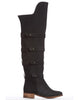 Arden Wohl x CDC Shelly OTK Strappy Flat Boot - Black