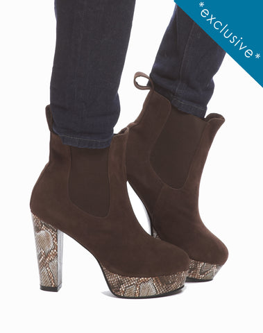 Simone Elastic Platform Bootie - Brown - was $165