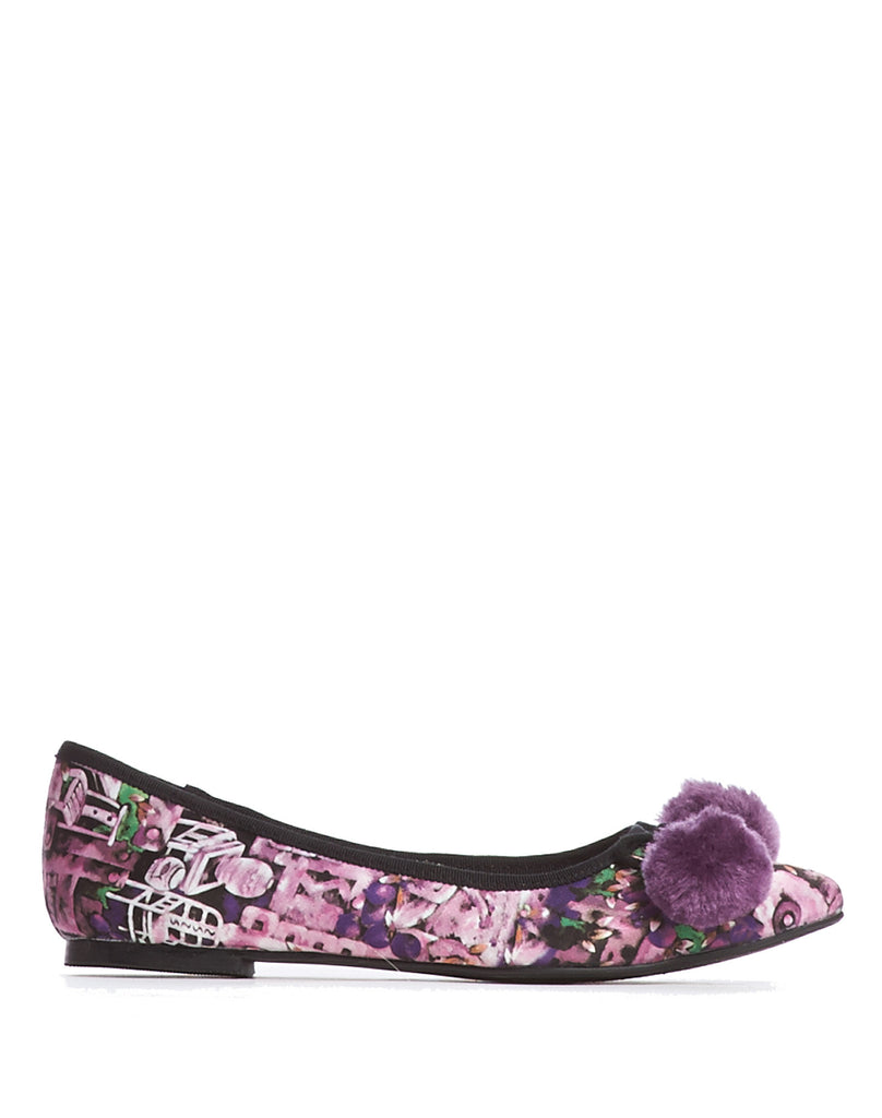 Arden Wohl x CDC Waterhouse Pom-pom Flats - Purple