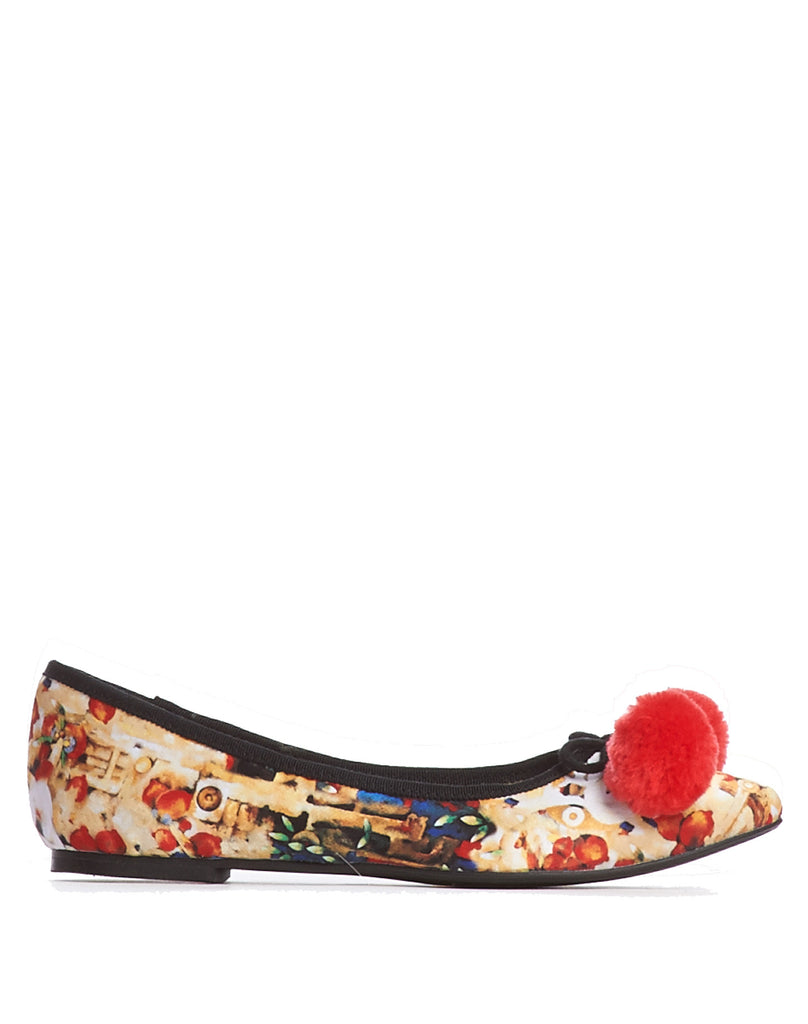 Arden Wohl x CDC Waterhouse Pom-pom Flats - Red