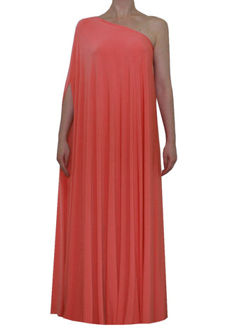 Coral one shoulder dress Long formal gonw Sexy prom dress XS-5XL