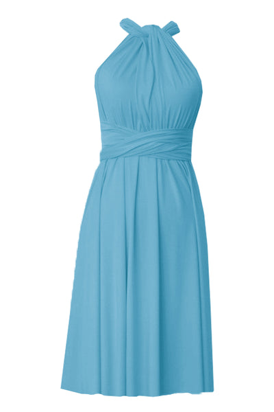 Infinity bridesmaids dress Sky blue convertible knee length dress Plus size prom evening formal dress XS S M L XL 0XL 1XL 2XL 3XL 4XL 5XL