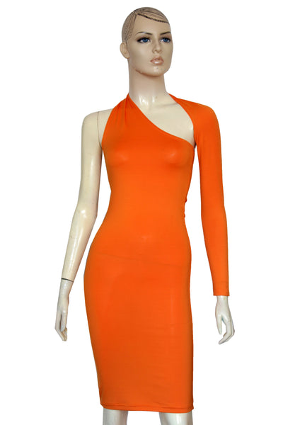 One shoulder dress Orange backless dress Long sleeve bodycon Open back casual dress