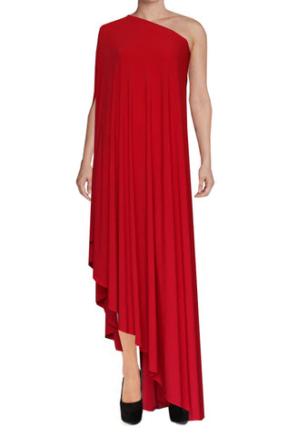 Red one shoulder dress Asymmetric hem high long formal sexy prom dress XS-5XL