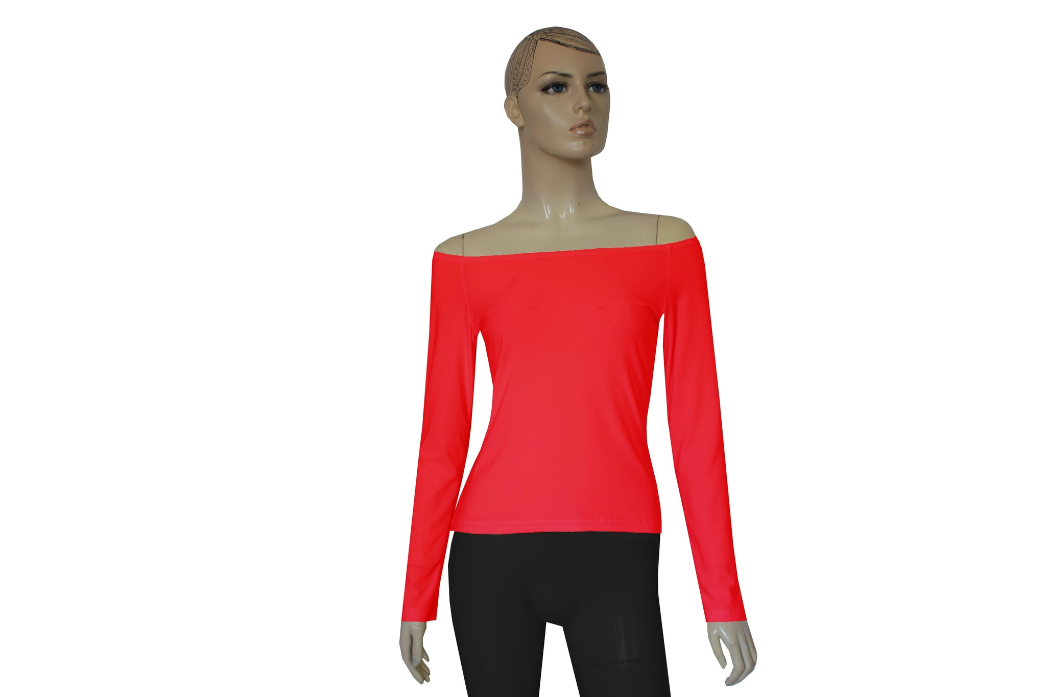 Red Off Shoulder Shirt Sexy Bardot Top Long Sleeve Fitted Blouse