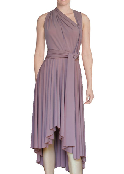 High low infinity bridesmaid dress Dusty pink convertible gown for prom evening & formal occasions XS-5XL