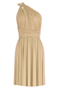 Infinity bridesmaid dress Beige convertible short dress Plus size prom gown Backyard wedding dress