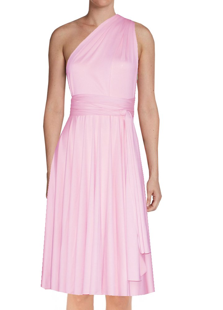 Short convertible bridesmaid dress Baby pink infinity gown for prom evening & formal occasions XS-5XL