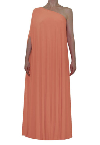 Salmon pink one shoulder dress Long formal gown Sexy prom dress XS-5XL