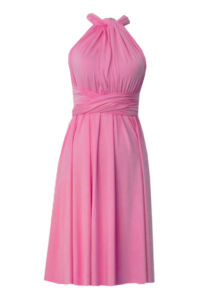 Short infinity bridesmaid dress Pink convertible gown for prom evening & formal occasions XS-5XL