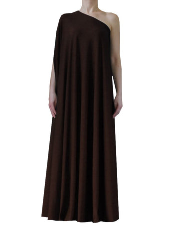 Dark brown one shoulder dress Long formal gown Sexy prom dress XS-5XL