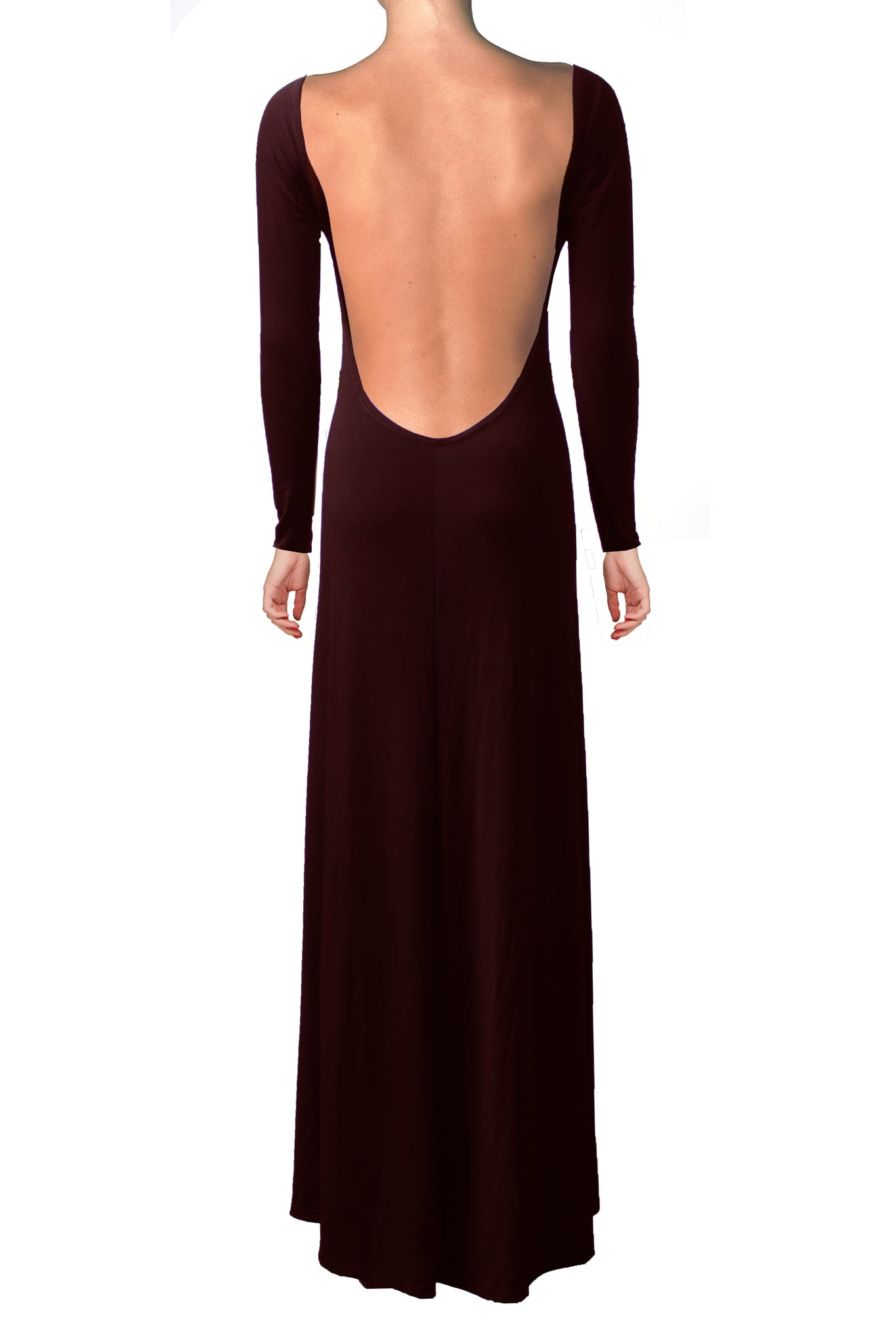 Open Back Dress Burgundy Bridesmaid Dress Backless Formal Dress Long Prom Dress XS S