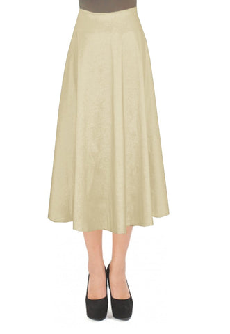 Champagne taffeta skirt in tea length for formal or evening occasions XS-4XL