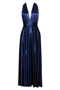 b85befda5d Infinity Bridesmaid Dress Crushed Velvet Navy Blue Gown Multiway Maxi –  EK-fashion.com