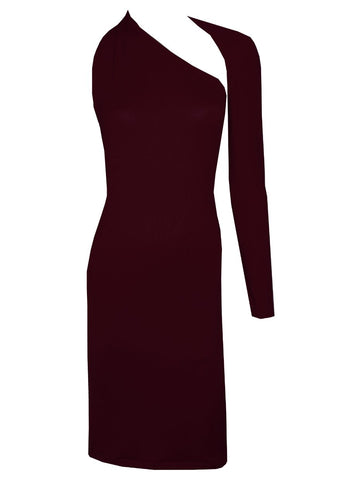 Burgundy backless dress One shoulder long sleeved boodycon