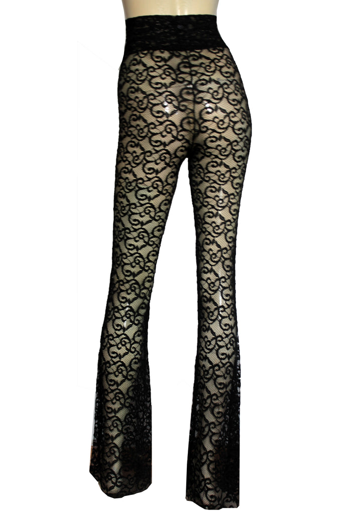 031ffe3e532 ... Flare pants Black lace bell bottoms Sheer high waist tights Plus size  lingerie Sexy yoga pants