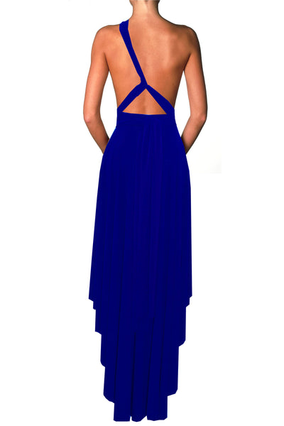 Convertible bridesmaids dress Royal blue infinity gown High low prom dress Evening outfit Plus size formal gown