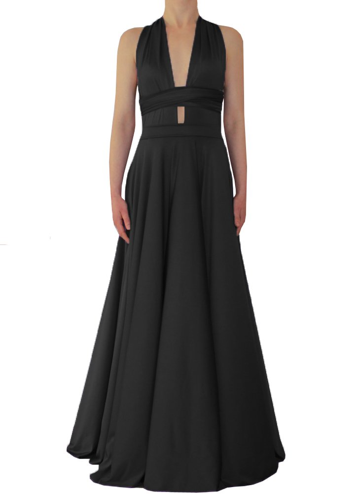 Long convertible dress Black infinity  gown for prom, bridesmaids or evening occasions XS-5XL