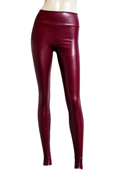 Leather leggings Burgundy tights Slim fit pants Plus size wine leggings Mid rise casual pants