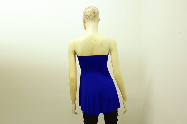 Strapless crop top Royal blue backless shirt Open front party blouse