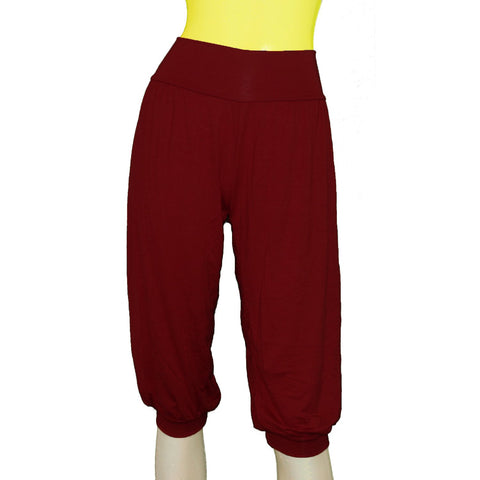 Burgundy capri yoga pants Sport ballet wear Jersey sexy under the knee joggers