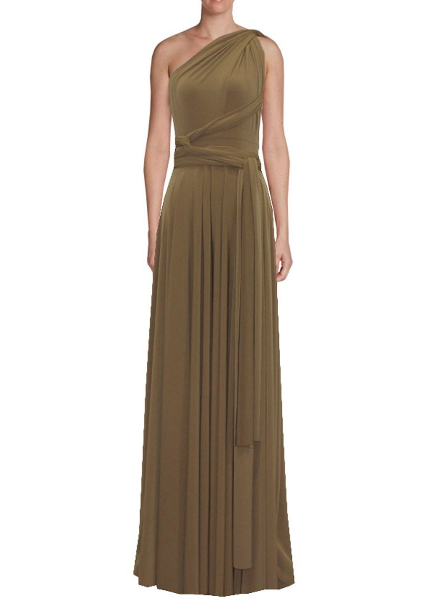 Long infinity bridesmaid dress Camel convertible gown for prom, evening or formal occasions