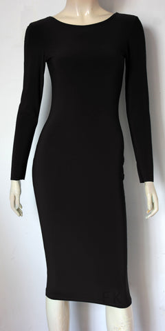 black pencil skirt with long sleeves hobble skirt in midi length wiggle dress with scoop neckline