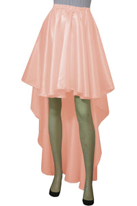 Peach satin skirt High low bridesmaids skirt Plus size prom formal mullet skirt XS-5XL