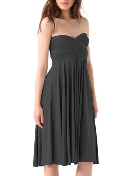 Convertible bridesmaid dress Dark gray infinity plus size dress Prom evening formal twist wrap dress XS S M L XL 0XL 1XL 2XL 3XL 4XL 5XL