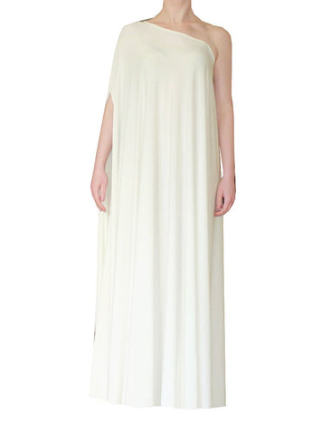 Ivory one shoulder dress Long formal gown Sexy prom dress XS-5XL