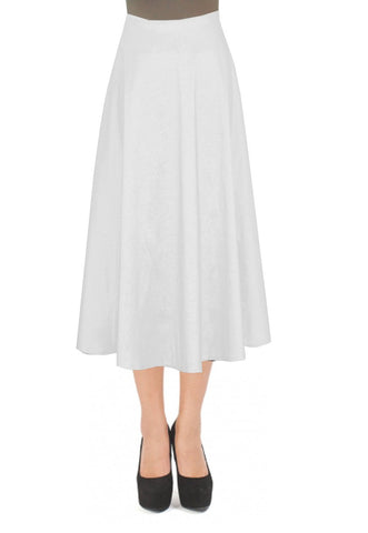White taffeta skirt in tea length for formal or evening occasions XS-4XL