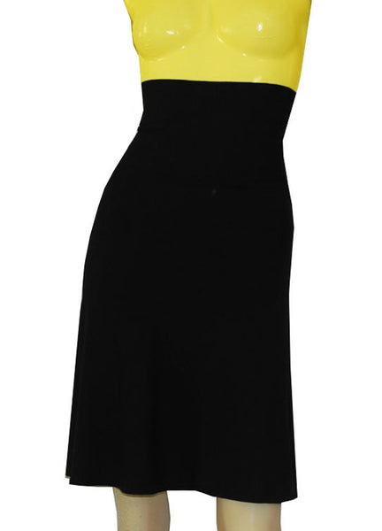Black jersey skirt in knee length with wide fold over waist band XS-4XL