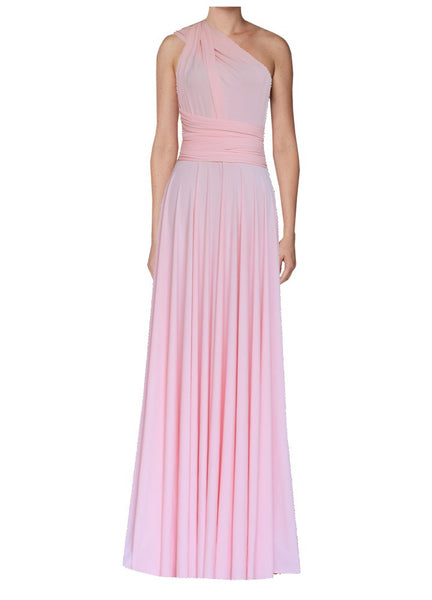 Long convertible bridesmaid dress Blush pink infinity gown for prom, evening or formal occasions XS-5XL
