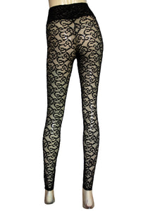 c300bf13a8d Black lace leggings Sheer high waist tights Plus size lingerie Sexy gothic  clothing Rave festival pants