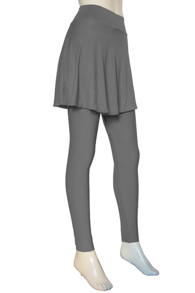 Gray Skirted Leggings Yoga Tights with Skirt Plus Size Joggers High waist jersey ankle leggings