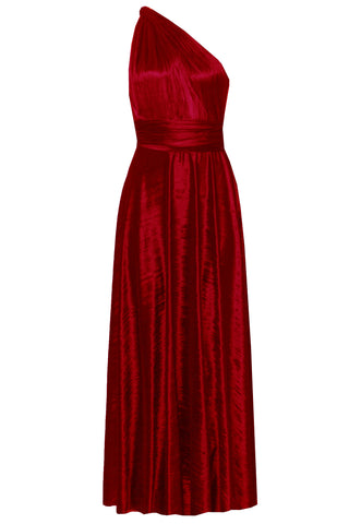 Crushed Velvet Infinity Dress Red Multiway Formal Gown Convertible Bridesmaid Dress Multi Way Plus Size Outfit Maternity Evening Fashion XS-5XL