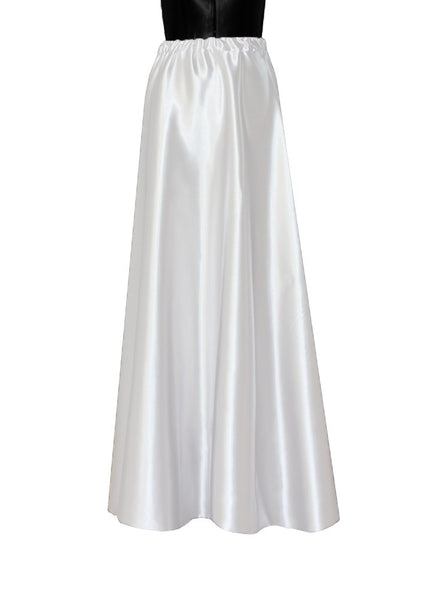 Satin wedding skirt White bridal separates Long prom skirt Maxi formal bottoms Evening skirt XS-L