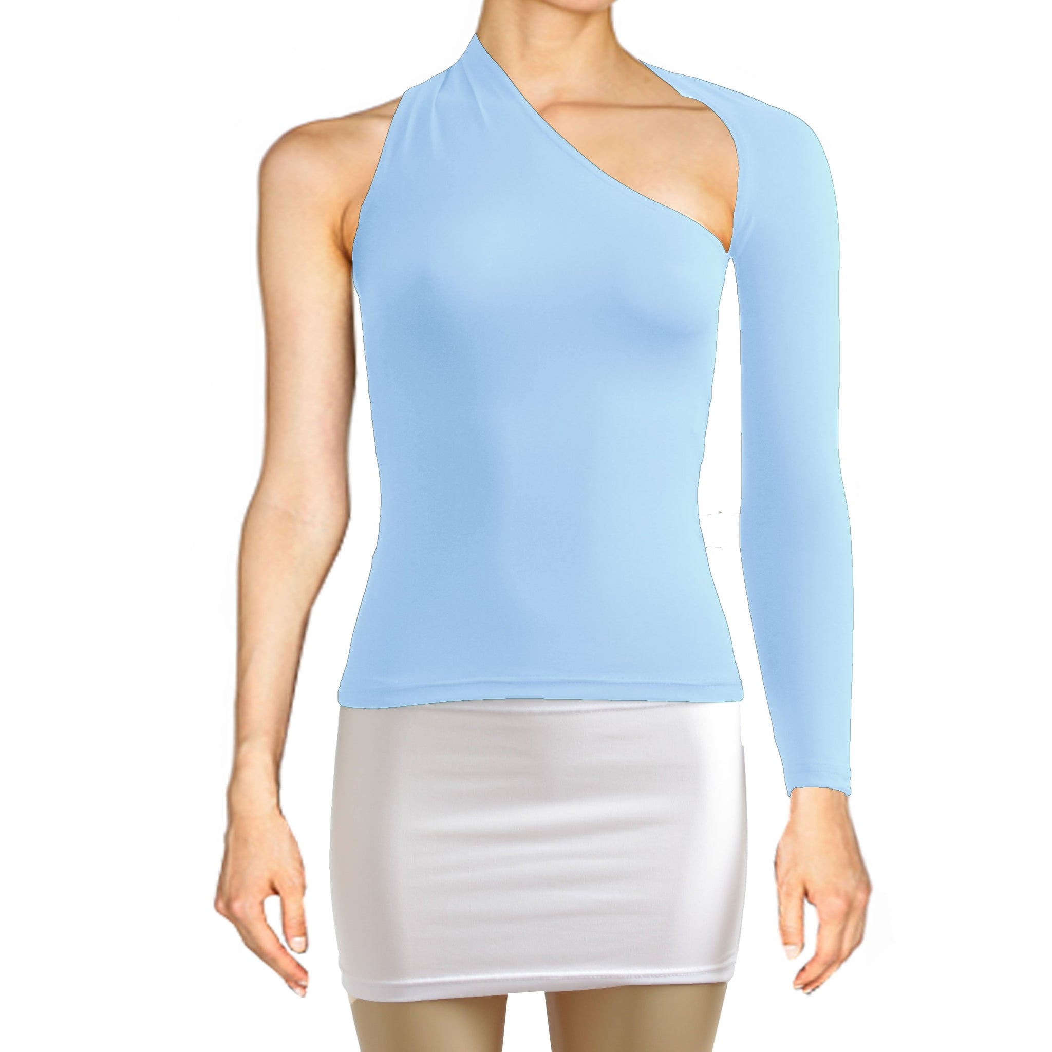 Baby blue backless top One shoulder shirt Long sleeve sexy top Festival shirt Rave party top