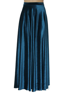 Teal velvet skirt Long plus size skirt Bridesmaids mismatched bottoms Maxi formal skirt Floor length prom skirt XS-5XL