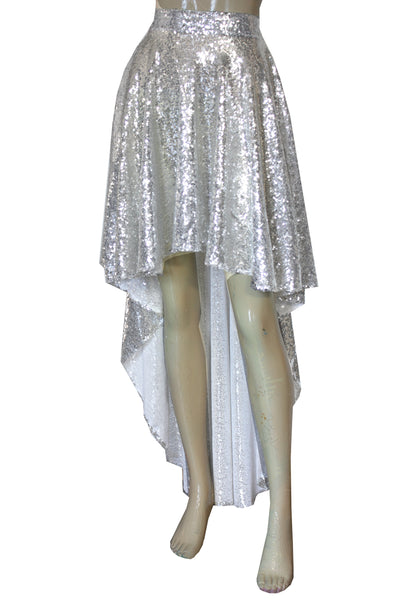 Sequin Wedding Skirt Silver High Low Skirt Bridesmaid Mix and Match Hi Lo Separates Plus Size Prom Formal Skirt XS-5XL