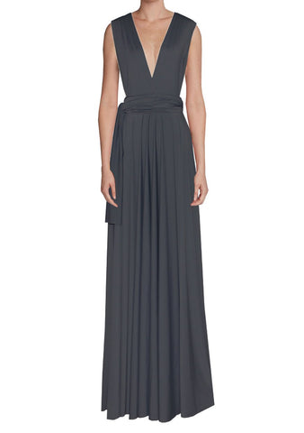 Long infinity bridesmaid dress Dark grey convertible gown for prom, evening or formal occasions XS-5XL