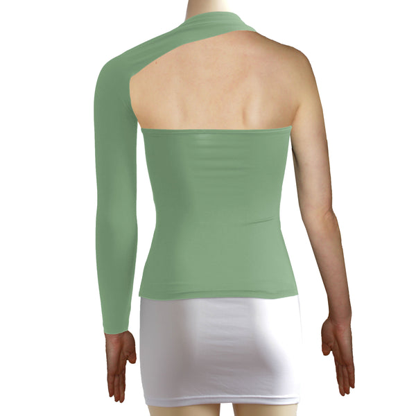 Sage green backless top One shoulder shirt Long sleeve sexy top Festival shirt Rave party top