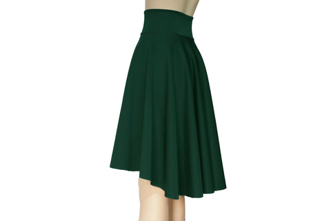 Dark green skirt High waist skirt Plus size circle skirt Water resistant neoprene skater skirt