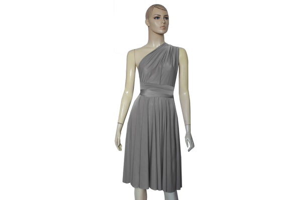 Infinity gray dress Bridesmaids knee length twist wrap dress Short convertible plus size prom evening formal dress XS S M L XL 0XL 1XL 2XL 3XL 4XL 5XL