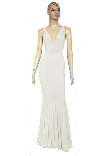 Ivory wedding dress Mermaid infinity dress Multiway bridesmaid gown Convertible fishtail dress  XS-5XL